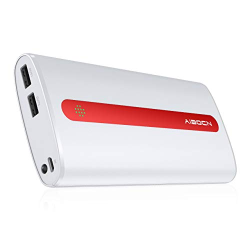 Aibocn Power Bank 20000mAh Portable External Charger with Flashlight for Apple Phone iPad Samsung Galaxy Smartphones Tablet and More, White and Red