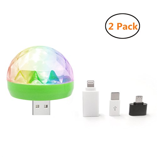 ni USB LED Disco Light Sound Activated RGB Magic Stage Effect for DJ Bar Pub Club Party Birthday Kids Gift Room Decoration (3 Adapters/Pack) (Family Series Dome Tent)