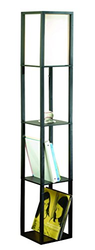 Catalina Lighting 17559-011 Modern Etagere Floor Lamp with Shelves, Ivory Fabric Shade and On/Off Pull Chain, 63