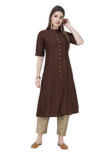 Lagi Women Designer Straight A-Line Kurta Kurtis top Tunic Dresses Polly Silk Rayon Cotton Kurtis Kurta (M, Brown (RK2138B)) ()