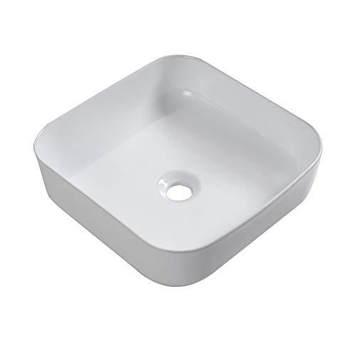 Sarlai 15''x15'' Modern Square Above Counter White Porcelain Ceramic Bathroom Vessel Vanity Sink Art Basin by Sarlai