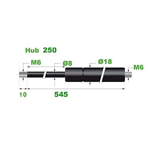 Gasdruckfeder Ø 8/18 M6 Hub=250 L=545 mm 150N(0264)