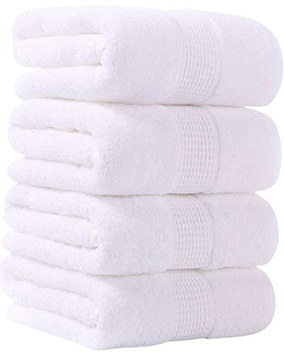 GraceTong Cotton Bath Towels,White 4 Pack, (24 x 48 in), Soft, Absorbent, Easy to Care, Suitable for Family, Spa, Hotel, Swimming Pool and Fitness