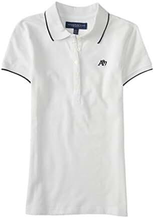 Aeropostale Women's A87 Solid Single-Tipped Piqu Polo Shirt