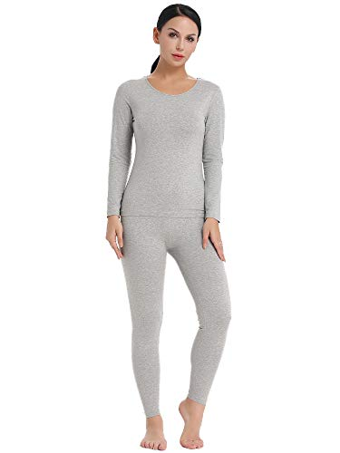 Amorbella Women's Long Underwear Ultra Soft Thermal Wear Fleece Lined Long Johns (Gray, Medium) (Womens Thermal Gray)