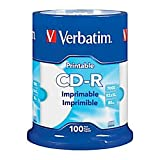 Verbatim(R) CD-R Printable Disc Spindle, White, Pack Of 100