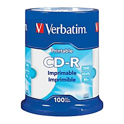 Price comparison product image Verbatim(R) CD-R Printable Disc Spindle, White, Pack Of 100