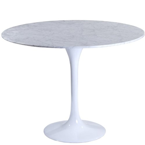 Modway 40 Eero Saarinen Style Tulip Dining Table with White Marble Top