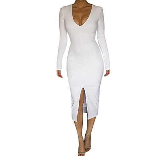 Froomer Women's Sexy V Neck Ball Gown Cocktail Party Split Long Dress White XXL