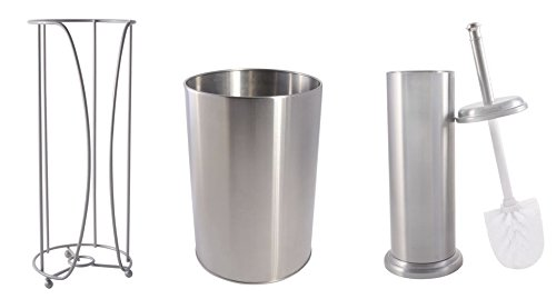 Toilet Brush Extra Toilet Paper Holder Waste Basket Complete Bathroom Set Brushed Nickel Finish