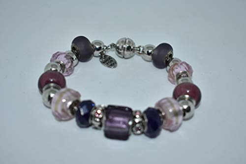 Pandora Style, Purple, Violet, Lavender, Pink, Beaded Snake Chain Charm Bracelet, Festival Gift, Themed Bracelet, Cute Costume Jewelry for Women or Girls, 8 - Pandora Violet