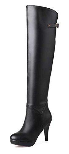 Chfso Womens Élégant Stiletto Boucle Solide Fermeture À Glissière Sur Le Genou Chunky Haut Talon Plateforme Club Bottes Noir