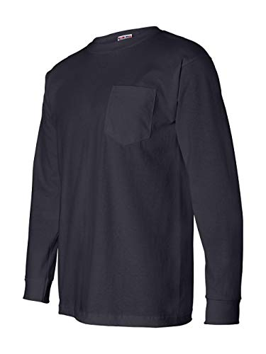 8100 Bayside Unisex Long-Sleeve Cotton Tee with Pocket Tshirt L Navy ()