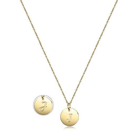 - JINBAOYING Gold Initial Pendant Necklace 14K Gold Plated Disc Engraved 18