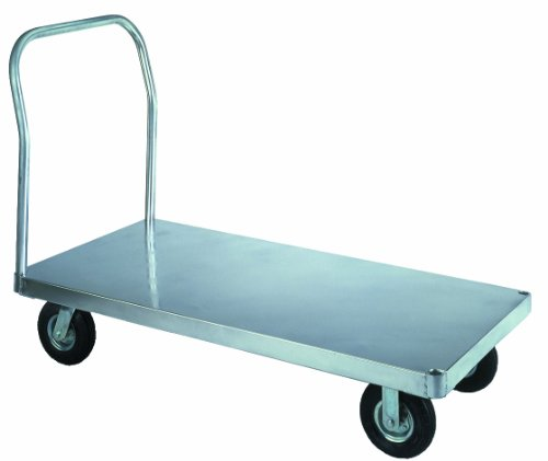 Wesco-350059-Smooth-Deck-Aluminum-Platform-Truck-Phenolic-Wheels-3000-lb-Load-Capacity-43-12-Handle-Height-60-x-30