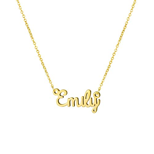 Awegift Name Necklace Big Initial Gold Plated Best Friend Jewelry Women Gift for Her Emily