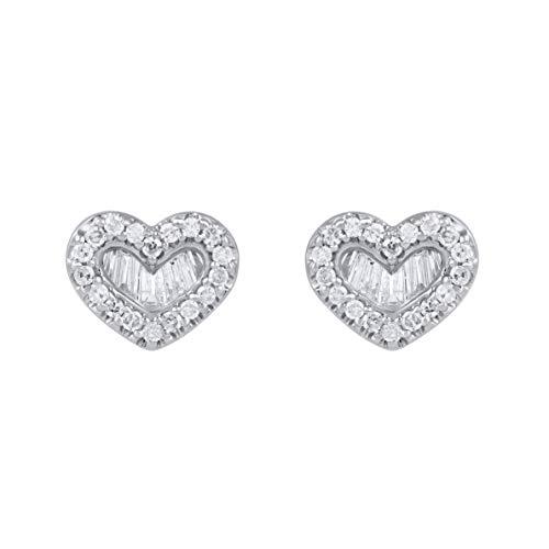 1/3 Carat Natural Diamond Earrings 10K White Gold (K-L Color, I1-I2 Clarity) Heart Shape Diamond Earrings for Women Diamond Jewelry Gifts for Women ()
