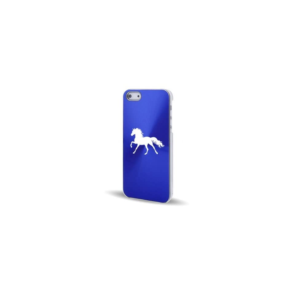 Apple iPhone 5 5S Blue 5C581 Aluminum Plated Hard Back Case Cover Horse