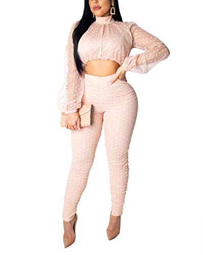- Women Mesh See Through Long Sleeve Polka Dot 2 Piece Set Crop Top Bodycon Long Pants Jumpsuit Romper Clubwear Pink
