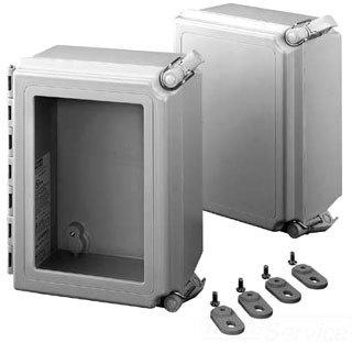 Hoffman A181610CHQRFG NEMA 4X Enclosure, Fiberglass, Solid Cover with Quick Release, 18.00