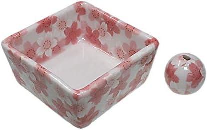 和モダン 満開桜 お香立て 陶器 角鉢 香立 ACS WEB SHOPオリジナル