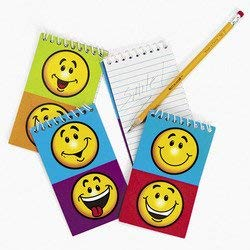 SMILE FACE SPIRAL NOTEPADS BULK 1 DOZEN