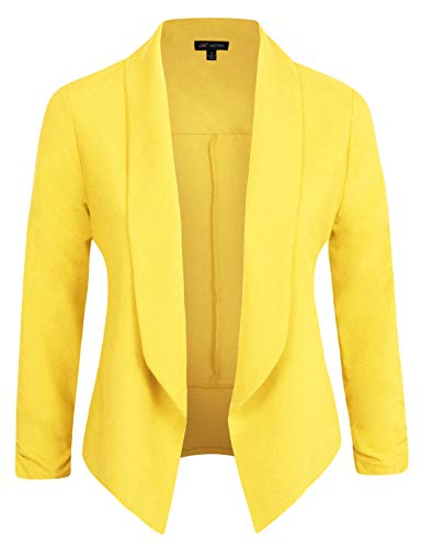 Michel Womens Casual Blazer Work Office Lightweight Stretchy Open Front Lapel Jacket Yellow X-Large from Michel