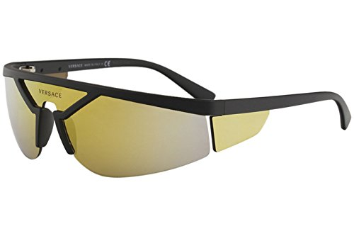 (Versace Unisex VE4349 Matte Black/Brown Orange One Size)