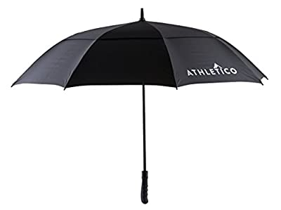 Athletico 62 / 68 Inch Automatic Open Golf Umbrella - Extra Large Double Canopy Umbrella Is Windproof and Waterproof - Features Ergonomic Rubber Handle