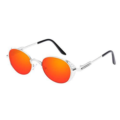 Sunglasses Personality Vue Spring Soleil Silver amp;red Homme pour Glasses de Retro de Protection et UV400 Lunettes Zhhlaixing lunettes Metal Femme I5wqXfP
