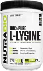 NutraBio 100% Pure L-Lysine Powder - 500 Grams