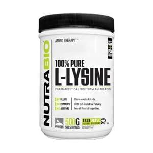 NutraBio L Lysine Powder 500 Grams