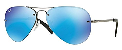 Ray-Ban RB Highstreet 3449 Sunglasses Gunmetal / Light Green Mirror Blue 59mm & HDO Cleaning Carekit - Ban Ray Rb 3449