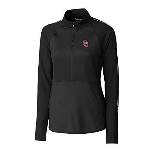 NCAA Oklahoma Sooners Women's CB Drytec Long Sleeve Pennant Sport 3/4 Zip Apparel, X-Large, Black