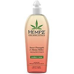 Hempz Hydrating Bath and Body Oil, Off Yellow, Sweet Pineapple/Honey Melon, 6.76 Fluid Ounce