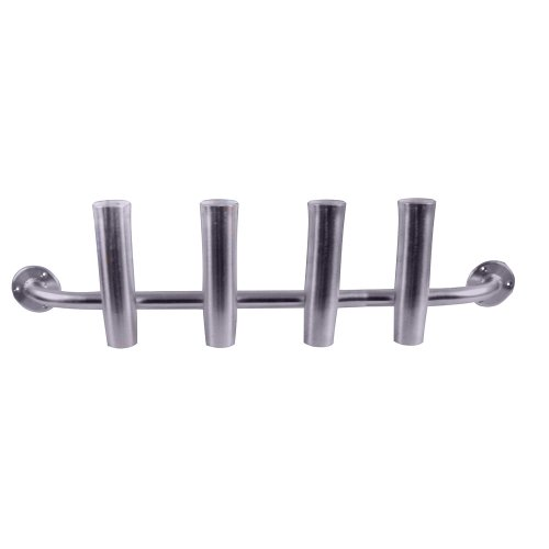Taco Metals Marine Aluminum 4-Rod Adjustable Transom Rod Rack/Brushed/Packaged/Rod Holder( Length 10-Inch, Rod Holder Inside Diameter 1 7/8-Inch, Full Length 40 1/2-Inch) by Taco Metals
