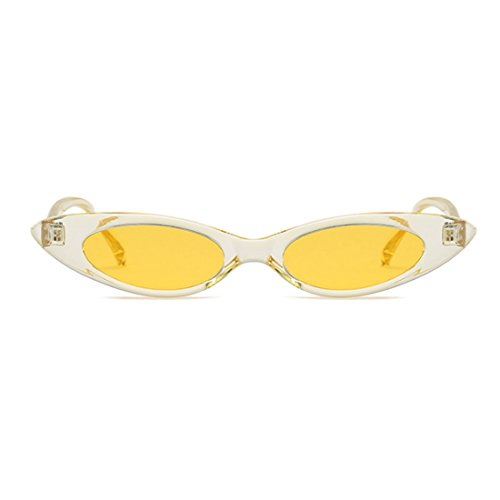 de de Hombres Caja Designer mujeres vintage Gafas Amarilla Inlefen Cat sol pequeñas Oval Amarilla Gafas sol y 6qwqOdIz