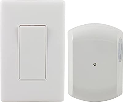 GE Wall-Switch Light Control Remote with 1 Outlet Receiver, Wireless, White, 18279