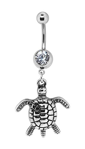 Bow Seahorse Cross Dangle Cute Belly Button Ring Body Jewelry for Navel Piercings (Turtle) (Dangling Designer Navel Ring)