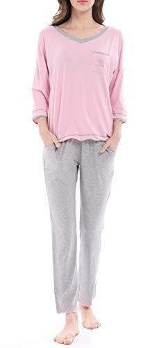 (Women's Knit V-Neck Sleepwear 3/4 Sleeve Pajama Set with Pants by Nora TWIPS(Pink,XS))