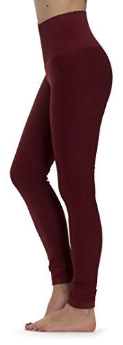 Prolific Health High Compression Women Pants Yoga Fitness Leggings (Small/Medium, Wine Red) (Red Compression Pants Women)