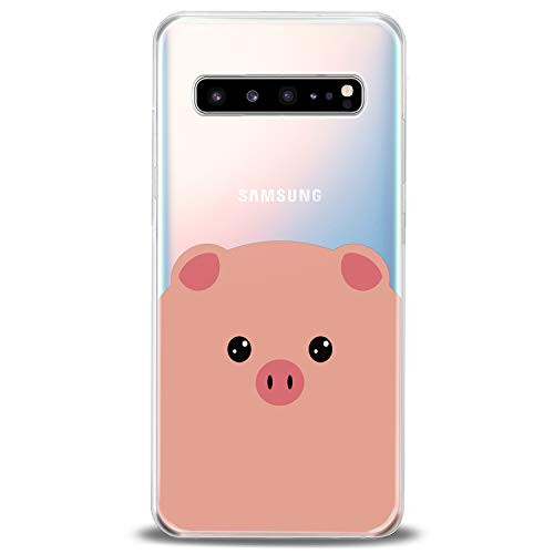Cavka TPU Cover for Samsung Galaxy Case Note 10 Plus 5G S10 S10e S9 S8 S7 Funny Piglet Gift Cute Clear Porky Kawaai Animals Design Top Lightweight Flexible Silicone Pink Pig Slim fit Soft Print Girly