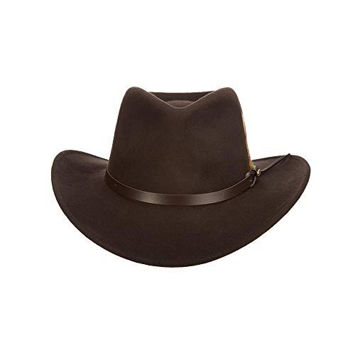 SCALA Men's Crushable Felt Outback, Chocolate, XX-Large (Mens Dress Rain Hats)
