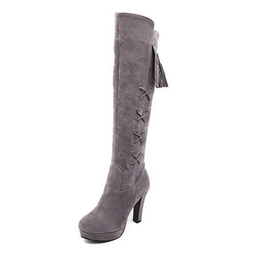 AgooLar Damen Reißverschluss Hoher Absatz Knoten Hoch-Spitze Stiefel, Grau, 37