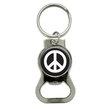 Graphics and More Peace Sign Symbol - Black Bottle Cap Op...