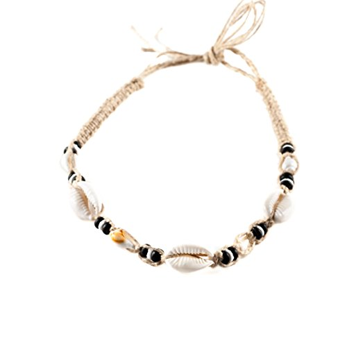 Hemp Choker Necklace with Cowrie, Nassa & Puka Clam Shells, Black Coconut Wood -