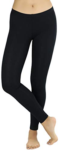 ToBeInStyle Women's Full Length Cotton Leggings - Black - 2XL
