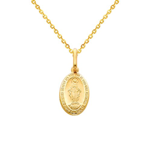 GM Fine Jewelry 14k Yellow Gold Religious Miraculous Mary Medal Charm Pendant with 1.2mm Side Diamond-Cut Rolo Cable Chain Necklace - 22