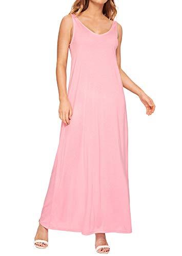 Verdusa Women's Casual Sleeveless Deep V Neck Knitted Shift Sexy Maxi Long Dress Pink XL ()