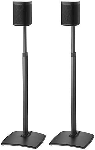 Sanus Adjustable Height Wireless Speaker Stands Designed for SONOS ONE, ONE SL, Play 1, and Play 3 – Tool-Free Height Adjust Up to 16 with Built in Cable Management – Black Pair